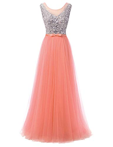 ses Sleeveless Bridesmaid Wedding Guest Gowns Beaded 2018 Coral US8 ()
