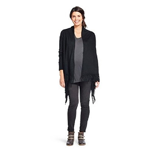 Liz Lange Maternity Top - Liz Lange Maternity Layering Fringed Cardigan Sweater (S/M, Black)