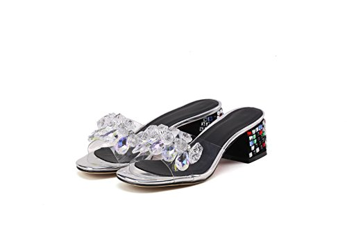 Women's Sandals Silver Heels Block amp;x Flip Qin Flop 5gZx4Bw