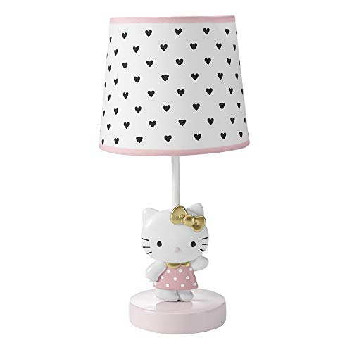 Bedtime Originals Hello Kitty Luv Hearts Lamp with Shade & Bulb, Pink/White