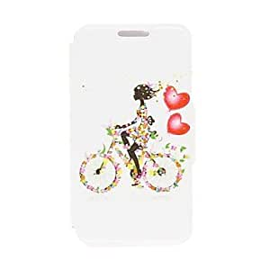 Mini - Kinston Bike Girl Pattern PU Leather Full Body Case with Stand for iPhone 5C