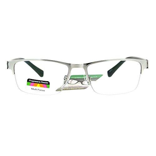 Mens Half Metal Rim Rectangular Multi 3 Power Focus Progressive Reading Glasses Silver - Guy Glasses