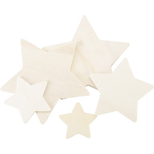 Darice Wood Cutout Star Assorted Styles ,1 to 4 inches each ()