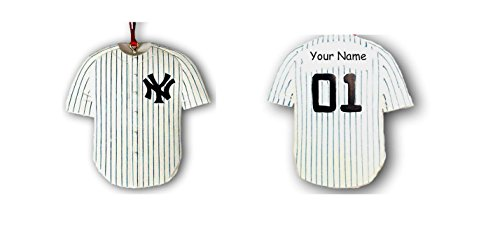 Baseball Player 3 Embroidery - Kurt Adler Personalized Officially Licensed New York Yankees Baseball Team Baseball Player Blue and White Stripe Jersey Hanging Christmas Ornament with Custom Name