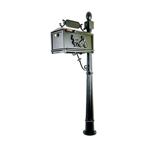 Post Mount Mailbox with Post, Heavy Duty Cast Aluminum Decorative Outdoor Residential Mailbox, Cast Horse and Buggy ()