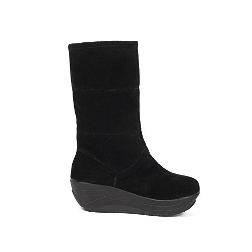 Frosted Heels Boots Toe Kitten On Round AgooLar Women's Closed Solid Black Pull nEx0qnwvF
