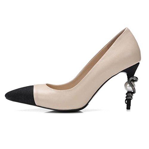 W&LM Scarpe da donna Livello vacchetta Serpente e perla Gioca il colore Tacchi alti Bocca poco profonda sandali... apricot