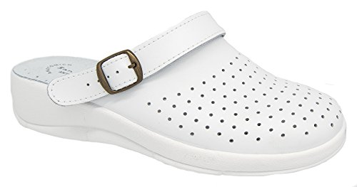Ladies San Malo White Leather Coated Padded Mule Clogs 2W4Lqc5