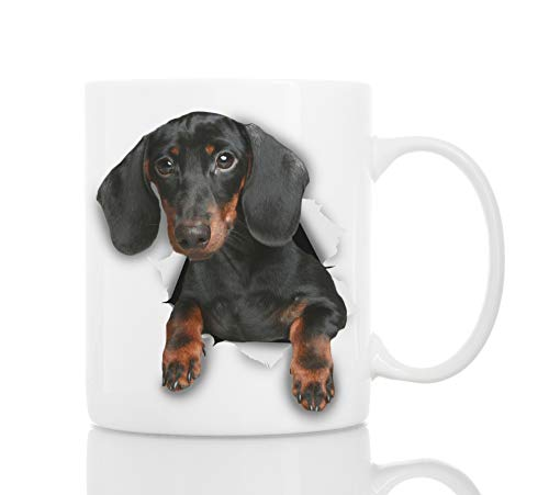 Cutest Black Dachshund Dog Mug - Ceramic Funny Coffee Mug - Perfect Dog Lover Gift - Cute Novelty Coffee Mug Present - Great Birthday or Christmas Surprise for Friend or Coworker, Men and Women (11oz)