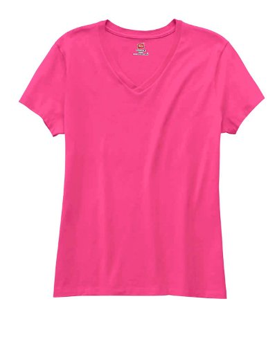 Hanes Women's Nano- V-Neck T-Shirt WOW PINK X-Large (Free Womens Pink T-shirt)