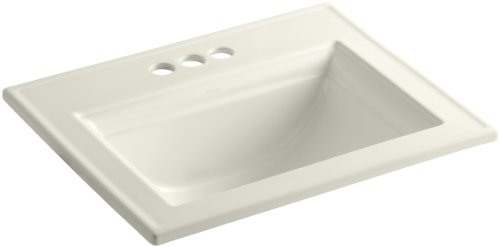 Kohler 2337-4-96 Ceramic Drop-In Rectangular Bathroom Sink, 27.38 x 22.38 x 11.5 inches, Biscuit ()