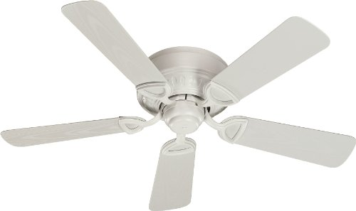 Quorum International 151425-8 Medallion Flush Mount Patio Ceiling Fan with Studio White Blades, 42-Inch, Studio White Finish