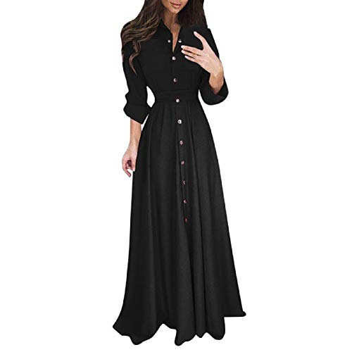 Wintialy Womens Lady Casual Fashion Long Sleeve Lapel Maxi Long Dress Solid Shirt Dress Black