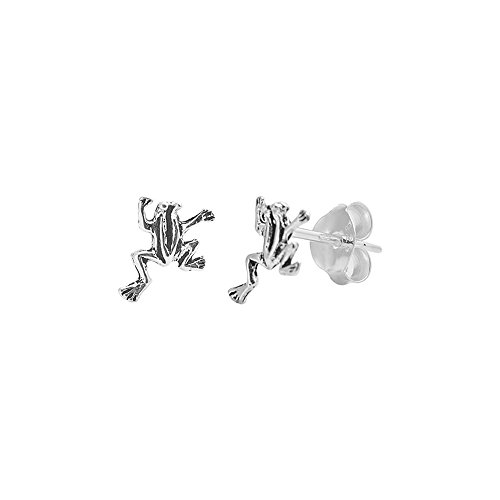 Sterling Silver Leaping Frog (.925 Sterling Silver Leaping Frog Small Stud Earrings)