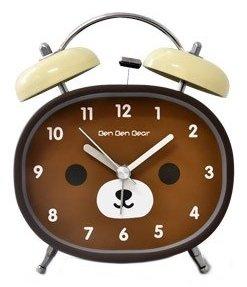 Clock Bear Desk (Kids Cartoon Silent Alarm Clock - 4-inch Brown Bear Face)