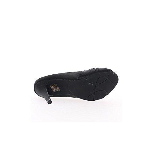 Escarpins ouverts noirs satinés à talons de 11cm et plateau invisible