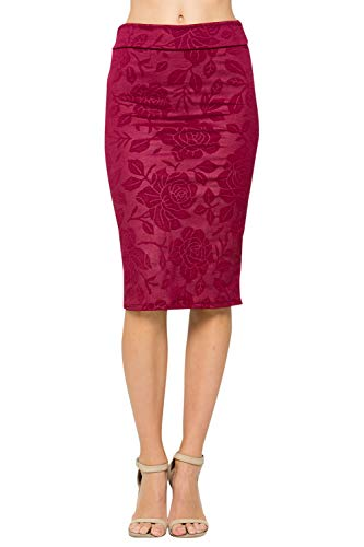 Junky Closet Women's Comfort Stretch Pencil Midi Skirt (Small, 2936SKAW Burgundy) -