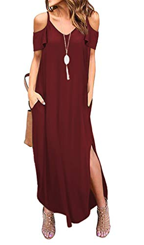 THANTH Womens Cold Shoulder Short Sleeve Ruffle V Neck Spaghetti Straps Side Split Casual Loose Beach Maxi Dress with Pockets Burgundy XL ()