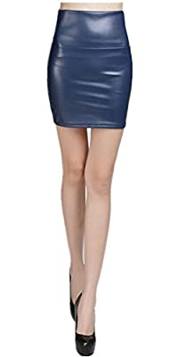 Emoyi Women's Shiny Metallic Liquid Stretched Mini Skirt Skater
