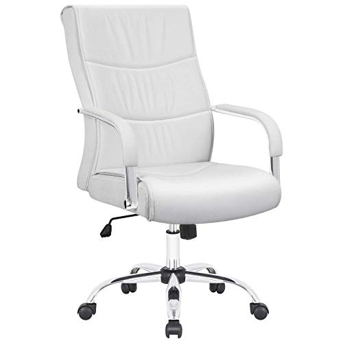 Furmax High Back Office Desk Chair Conference Leather Executive with Padded Armrests,Adjustable Ergonomic Swivel Task Chair with Lumbar Support (White) - Ergonomic Conference Chair