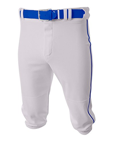- A4 Sportswear Baseball/Softball Knee High Pants White/Royal Blue Side Piping Youth XL Old School Knickers