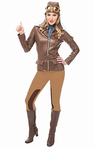 Franco American Novelty Company Lady Lindy Flying Pilot Woman Costume, Brown, Small -