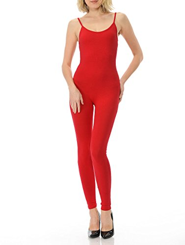 7Wins Women Catsuit Cotton Lycra Tank Spaghetti Strapped Yoga Bodysuit Jumpsuit S-Plus (Large, Red)