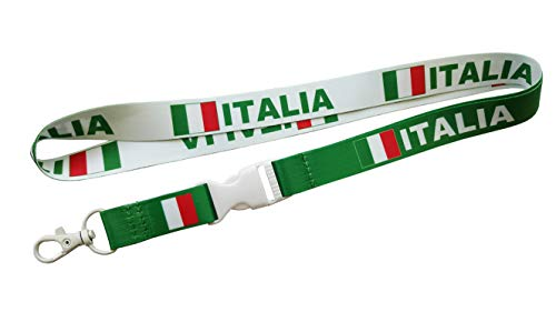 Italia/Italy Flag Reversible Lanyard Keychain with Quick Release Snap Buckle and Metal Clasp - ID Lanyard for Keys, Badges, Whistle - ID Holder Keychain for Women, Men, Kids (Green or White) 1-Pack