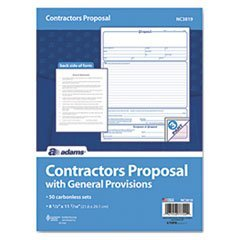 - Contractor Proposal Form, 3-Part Carbonless, 8 1/2 x 11, 50 Forms by Reg