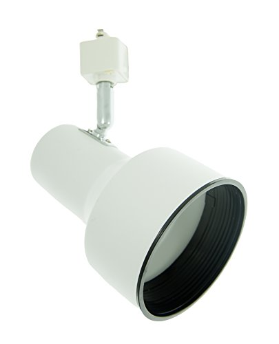 Black Step Cylinder - Track Lighting Fixtures PAR30/R30 Step Cylinder (medium head), Flat White w/Black Baffold Chrome Neck, Line Voltage, 3 wire, Ceiling Lights