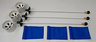 """Golf Practice Putting Green(Natural or Synthetic)- Deluxe Accessory Kit: (3)White Aluminum 4"""" Deep Regulation Cups + (3)Solid Blue Jr Flags + (3)30"""" White Fiberglass Pin Markers w/ Ball Lifter Disk"""