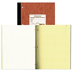 Pressboard Notebook - NATIONAL Laboratory Notebook, 4 X 4 Quad, Brown, Cover, 11 x 9.25