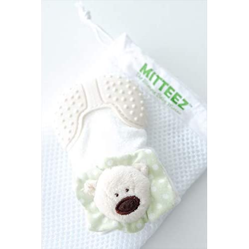 Mitteez Organic Baby Teether Mitten and Keepsake Toy for Babies 0-6 Months - Green