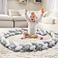 Baby Crib Bumper Knotted Braided Bumper Handmade Soft Newborn Gift Crib Protector (Gray-White, 118 inch) ...
