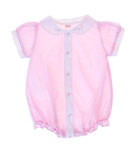 Carriage Boutique Baby Girl Hand Embroidered Bubble Romper - Pink (PREMIE)