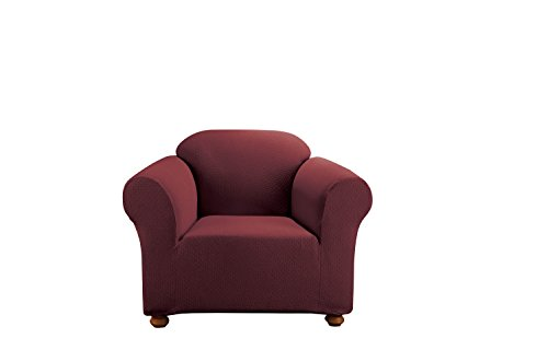 Arm Chairs Burgundy Polyester Fabric - Sure Fit Simple Stretch Subway 1-Piece - Chair Slipcover  - Burgundy (SF44511)