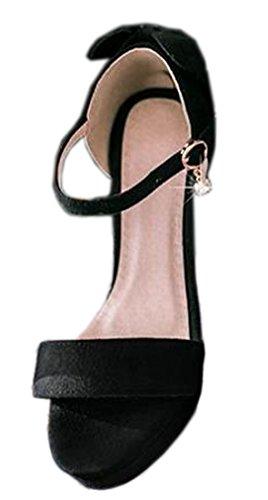 VECJUNIA Ladies Platform Chunky Heel Sandals Ankle Strap Shoes Black 7.5 fG5oiHC