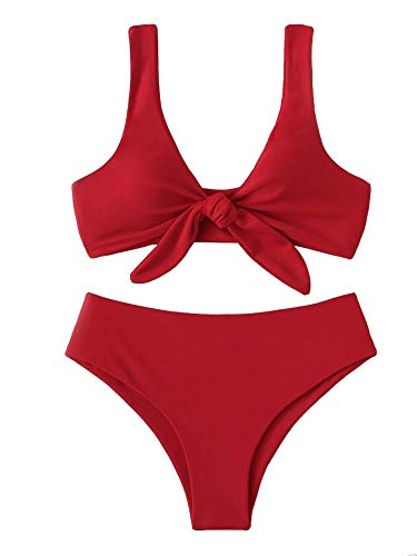 - SweatyRocks Women's Bikini Tie Knot Front Detachable Swimsuit Soild Color High Waist Swimwear Set