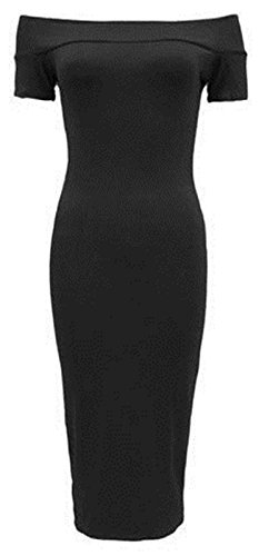Forever Womens Cap Sleeves Plain Off Shoulder Stretchy Midi Dress