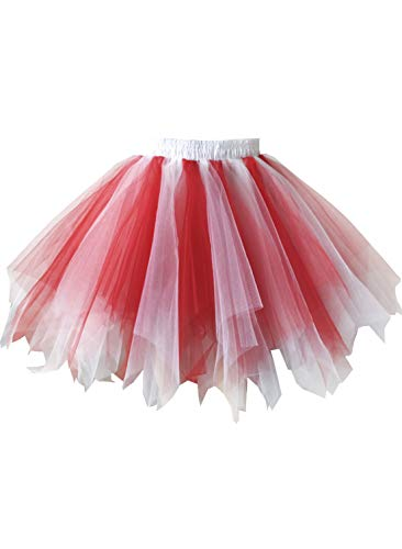 Emondora Retro Short Tutu Skirt Petticoat Adult Fluffy Party Multi-colored Ballet Costume Red/White Size XL-XXL -
