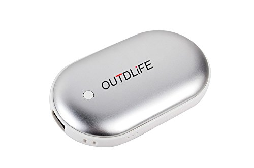 OUTDLIFE Rechargeable Hand Warmer 5200mAh/7800mAh Power Bank, Portable USB Electric Hand Warmers Double-Sided Heating Mobile External Battery Charger Best Gift in Winter for Women,Man (Silver)
