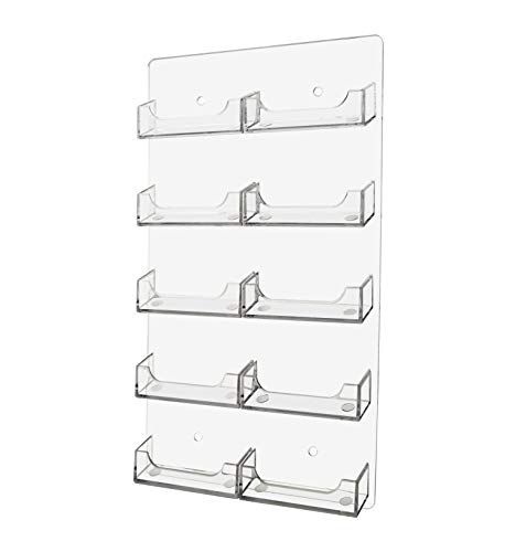 Marketing Holders Wall Business Card Holder Vertical Wall Mount 10 Pocket Clear