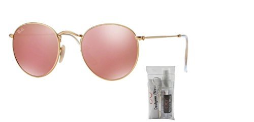 Gold Sunglasses Rb3447 Metal Matte brown Ban Ray Pink Round Mirror qIUYYa