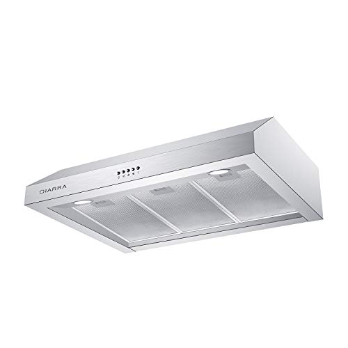 Under Cabinet Hood, CIARRA 30 inch Stainless Steel Range Hood with 450 CFM, Ducted & Ductless Stove Vent Hood with 3 Speed Exhaust Fan & Aluminum Filters, Push Button Control