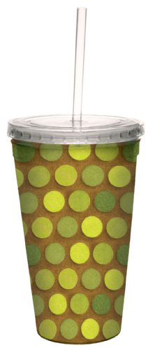 Tree-Free Greetings 80279 Shades of Green by Debbie Mumm Artful Traveler Double-Walled Acrylic Cool Cup with Reusable Straw, 16-Ounce