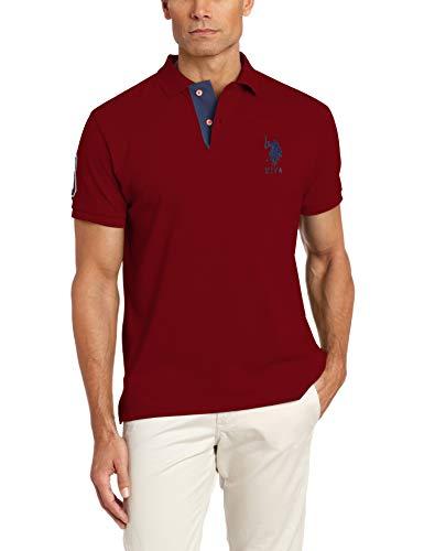 (U.S. Polo Assn. Men's Short-Sleeve Polo Shirt with Applique, University red, L)