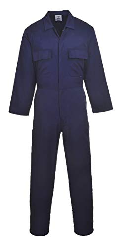 Portwest Euro Work Boilersuit Coverall Overall Protective Safety Work Suit One Piece, Navy, X Large