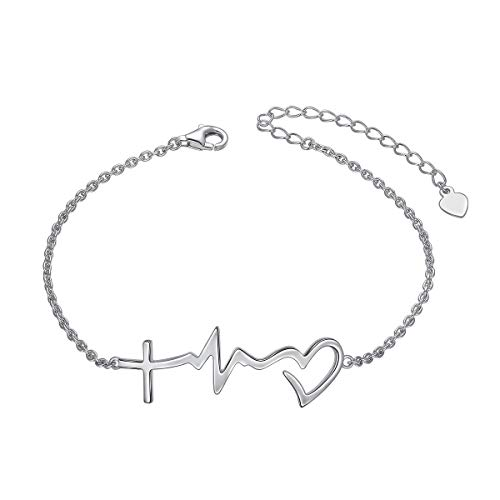 (S925 Sterling Silver Faith Hope Love Cross Lifeline Heart Adjustable Chain Bracelet Christian Jewelry Gifts for Women Girls, 7
