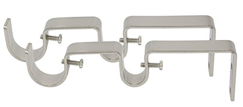 Meriville Double Curtain Rod Bracket - Designed for 1-Inch and 5/8-Inch Double Drapery Rod, Satin Nickel, Set of 2