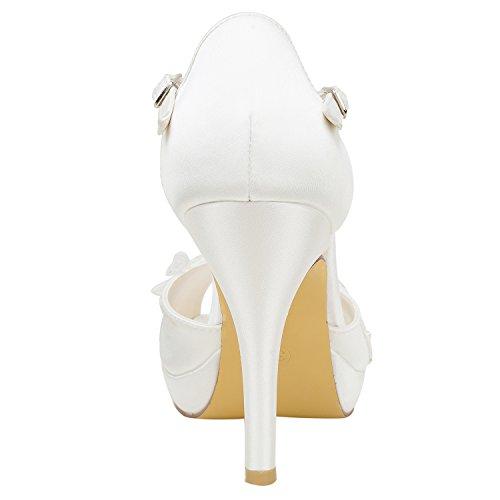 Emily Mujer Bridal con de Peep Zapatos de Plataforma de Talón de Toe Estilete Encaje Ivory Perlas Nupciales Satén qwAqrXB